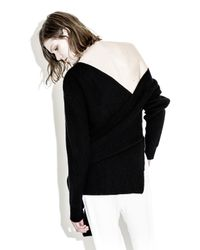 3.1 Phillip Lim - Black Draped Ribbed Tie Pullover - Lyst