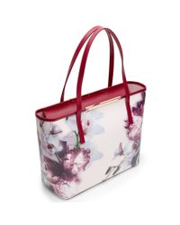 Ted Baker Natural Lietta Ethereal Posie Crosshatch Leather Shoper Bag