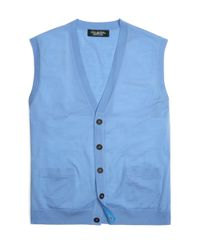 Brooks Brothers - Blue Country Club Lightweight Saxxon® Button Vest for Men - Lyst
