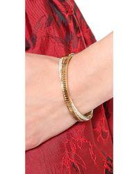 Michael Kors Metallic Pave Baguette Crossover Bracelet Goldtopaz