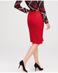 Ann Taylor Red Refined Zip Pencil Skirt