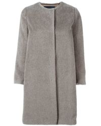 'S Max Mara - Gray Single Breasted Short Coat - Lyst