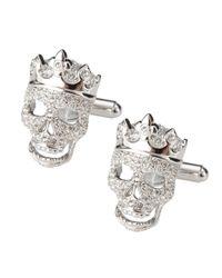 Simon Carter Metallic Diamante Skull Cufflinks for men
