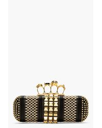 Alexander McQueen Black and Gold Studded Crystal Knucklebox Clutch