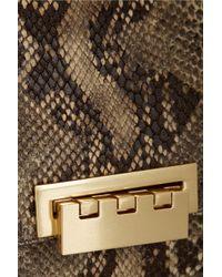 Zac Zac Posen Eartha Snake Effect Leather Tote In Beige