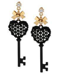 Betsey Johnson - Black Heart Key Drop Earrings - Lyst