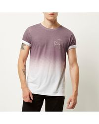 River Island Pink Red Faded Hexagon Print T-shirt for men