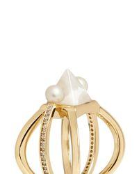 Eddie Borgo | White Pearl Horoscope Barbell Ring | Lyst