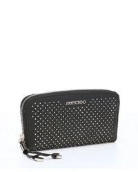 Jimmy Choo - Black Studded Leather 'filipa' Continental Wallet - Lyst