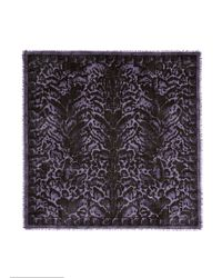 Alexander McQueen Purple Skull Leopard Print Cashmere-silk Scarf