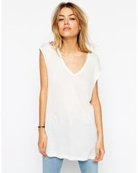 ASOS White Slouchy Tank Top In Rib With V Neck