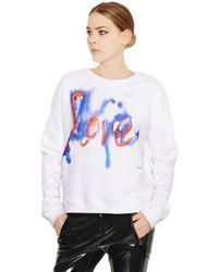 MSGM White Love Printed Cotton Sweatshirt