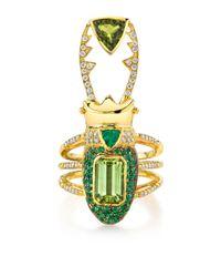 Daniela Villegas - Green Perseus 18k Gold Emerald Tourmaline and Diamond Ring - Lyst