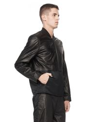 Alexander Wang - Black Long Sleeve Leather Bomber Jacket for Men - Lyst
