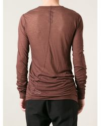 Rick Owens Brown Long Sleeve Tshirt for men