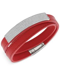 Swarovski Red Crystal Pavé Soft Leather Wrap Bracelet