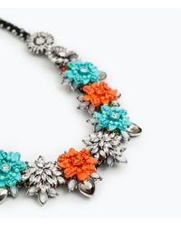 Zara | Metallic Enamel Flower Necklace | Lyst