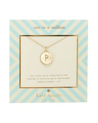 kate spade new york | Metallic One In A Million Letter P Pendant Necklace | Lyst