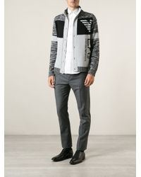Emporio Armani Gray Patterned Logo Cardigan for men