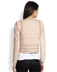 Rebecca Taylor - Natural Studded Leatherpaneled Tweed Jacket - Lyst