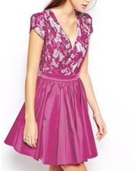Chi Chi London - Purple Prom Dress With Lace Bodice And Full Skirt - Lyst