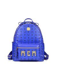 MCM - Blue Visetos Stark Monogram Backpack for Men - Lyst