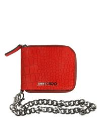 Jimmy Choo Red Embossed Nubuck Coin Wallet W/ Chain for men