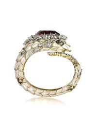 Roberto Cavalli | Metallic Ruby Red Crystals And Enamel Snake Bracelet | Lyst