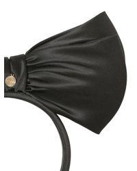 Federica Moretti Black Ada Silk Satin Headband With Large Bow
