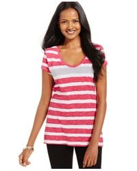 Style & Co. | Purple Style&Co. Sport Short-Sleeve Striped Tee | Lyst