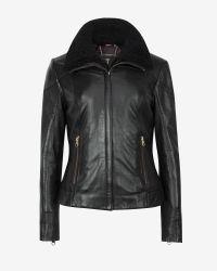 Ted Baker | Black Shearling Trim Leather Jacket | Lyst