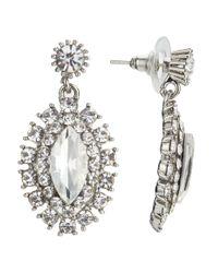 John Lewis - Metallic Glass Crystal Statement Leaf Drop Earrings - Lyst