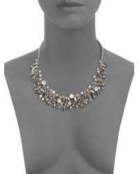 ABS By Allen Schwartz - Metallic Briolette Fringe Bib Necklace - Lyst