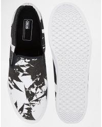 ASOS - Black Slip On Sneakers With Print for Men - Lyst