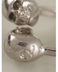 Alexander McQueen Metallic Double Skull Ring