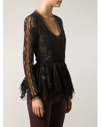 Oscar de la Renta Black Lace Jacket Blouse