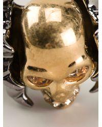 Alexander McQueen Metallic Claw Skull Cocktail Ring