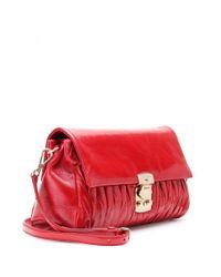 Miu Miu Red Matelassé Glazed Leather Shoulder Bag