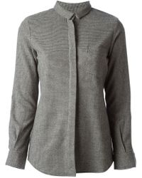 Golden Goose Deluxe Brand Gray Houndstooth Pattern Shirt