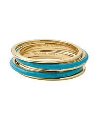 Michael Kors | Metallic Goldtone Turquoise Bangle Bracelet Set | Lyst