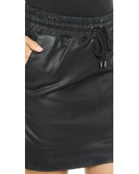 Just Female Mossi Dull Leather Skirt - Black