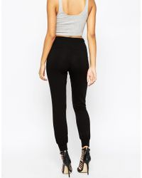 ASOS - Black Joggers With Leather Look Pockets - Lyst
