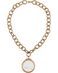 Bottega Veneta White Gold-Plated, Porcelain And Glass Stone Necklace
