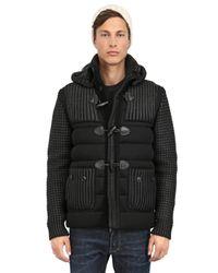 Bark Black Waxed Wool Blend Knit Mesh Duffle Coat for men