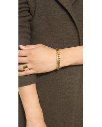 Michael Kors Metallic Graduated Frozen Curb Chain Cuff Bracelet - Gold