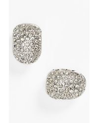 Anne Klein - Metallic Pave Small Hoop Clip Earrings - Lyst