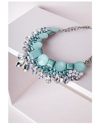 Missguided | Blue Statement Crystal Necklace Aqua | Lyst