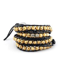 Anne Sisteron | Metallic Small Pyrite Bead Wrap Bracelet | Lyst