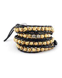 Anne Sisteron - Metallic Small Pyrite Bead Wrap Bracelet - Lyst