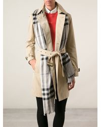 Burberry Brit - Gray Checked Scarf - Lyst
